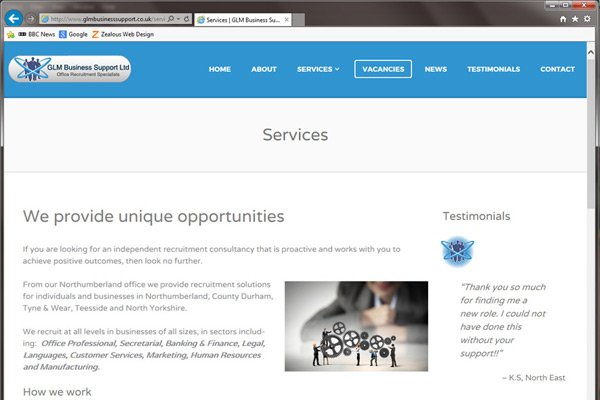 WordPress CMS website for GLM Business Support | Zealous Web Design - Cramlington Blyth Northumberland