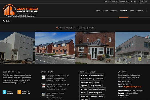 New WordPress CMB website for Bayfield Architecture in Newcastle by Zealous Web Design - Blyth Northumberland